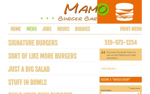 Screenshot of Menu Page mamoburgerbar.com - Menu Archives - Mamo Burger Bar - captured Sept. 30, 2014