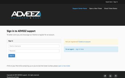 Screenshot of Login Page adveez.com - ADVEEZ support - captured Nov. 16, 2019