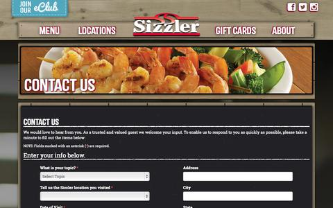 Screenshot of Contact Page sizzler.com - Contact Us - Sizzler - captured Sept. 19, 2014