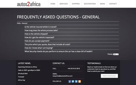 Screenshot of FAQ Page autos2africa.com - FAQs | autos2africa | Vehicle Export Sourcing Agency - captured Sept. 30, 2014