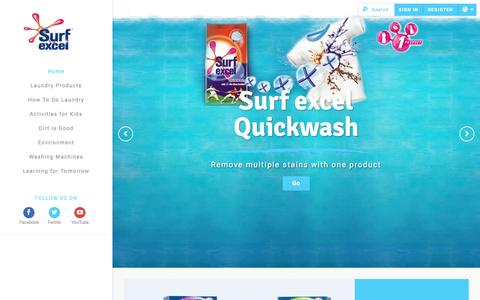 Screenshot of Home Page surfexcel.in - Laundry Detergents | Kids' Activities - Surf excel - captured Jan. 26, 2016