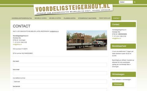 Screenshot of Contact Page mijnwebwinkel.nl - CONTACT | Voordeligsteigerhout.nl - captured Dec. 1, 2016