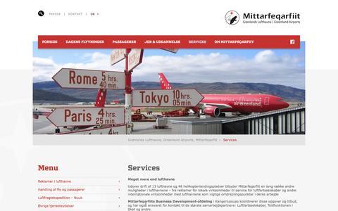 Screenshot of Services Page mit.gl - Lufthavnsservices for piloter i Grønland - captured Sept. 12, 2016