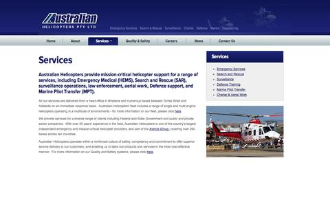 Screenshot of Services Page austheli.com - Australian Helicopters - captured Oct. 4, 2014