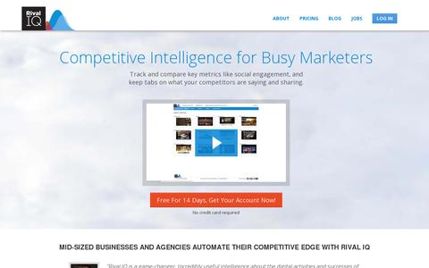 Screenshot of Home Page rivaliq.com - Competitor Analysis and Marketing Intelligence Software by Rival IQ - captured July 11, 2014