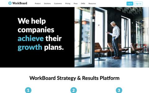 Screenshot of Home Page workboard.com - Strategy & Results Management and OKRs for Fast Growth | WorkBoard - captured Feb. 14, 2019
