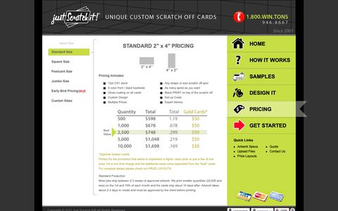 Screenshot of Pricing Page justscratchit.com - Just Scratch It!® - Pricing | Standard Size - captured Oct. 14, 2018