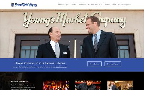 Screenshot of Home Page youngsmarket.com - Young's Market Company | Distributor of Fine Wines, Spirits & Select Beverages - captured Oct. 1, 2015