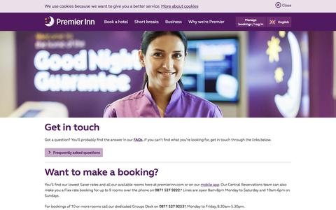 Screenshot of Contact Page premierinn.com - Contact Premier Inn | Contact us | Premier Inn - captured Oct. 18, 2017