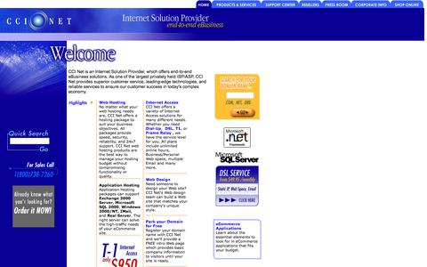 Screenshot of Home Page ccinet.com - CCINet: Domain Registration, Hosting, Dedicated Servers, Colocation and  Dedicated Access. - captured March 5, 2016
