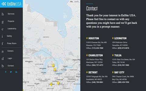 Screenshot of Contact Page emseng.com - EnsiteUSA - Contact - captured Nov. 2, 2014
