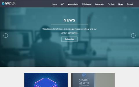 Screenshot of Press Page aspirevc.com - Aspire Ventures | News - captured Oct. 4, 2018