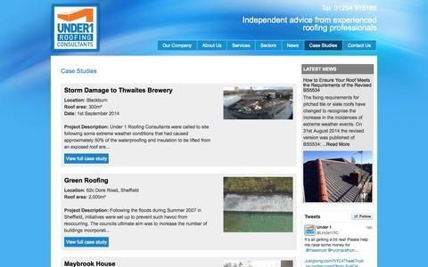 Screenshot of Case Studies Page under1.co.uk - Case Studies Archive | Under1 Roofing Consultants - captured Nov. 2, 2014