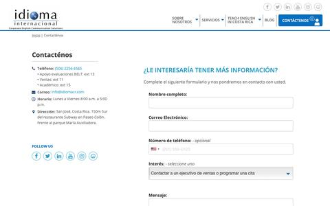 Screenshot of Contact Page idiomacr.com - Contacténos – Idioma Internacional - captured Oct. 11, 2018