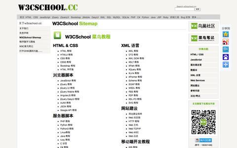 Screenshot of Site Map Page w3cschool.cc - 站点地图 | w3cschool菜鸟教程 - captured Nov. 2, 2014
