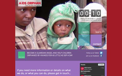 Screenshot of Contact Page aidsorphan.net - AIDS Orphan| Contact us Phone: 020 7624 3011 - captured Sept. 30, 2014