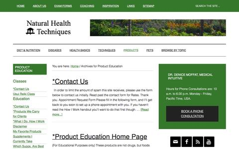 Screenshot of Products Page naturalhealthtechniques.com - Product Education | Natural Health Techniques - captured Feb. 20, 2016