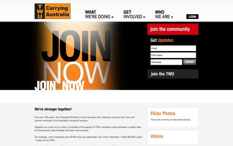 Screenshot of Signup Page twu.com.au - TWU - Transport Workers Union (TWU) - Contact - captured May 25, 2016
