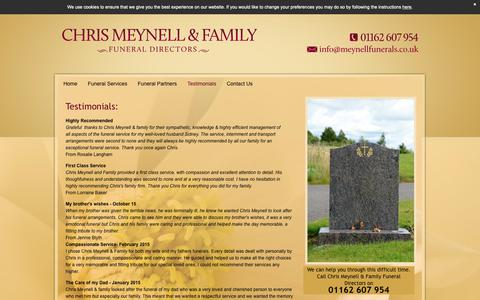 Screenshot of Testimonials Page meynell-funerals.co.uk - Funeral Directors - Syston | Chris Meynell & Family Funeral Directors - captured Sept. 28, 2018