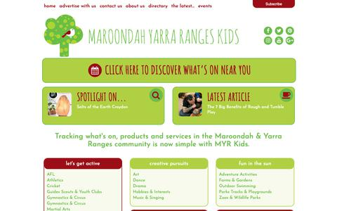 Screenshot of Home Page myrkids.com.au - Home - Maroondah Yarra Ranges Kids - captured Sept. 28, 2018