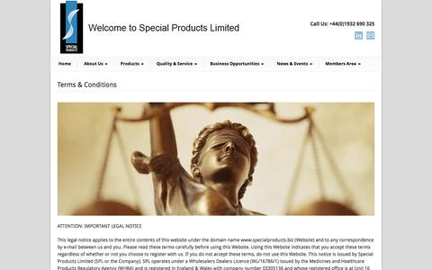 Screenshot of Terms Page specialproducts.biz - Special Products Terms & Conditions » Special Products - captured Oct. 6, 2014