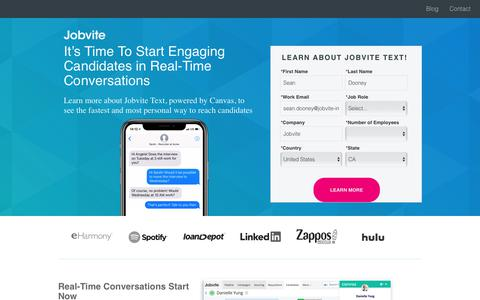 Screenshot of Landing Page jobvite.com - Request more information about Jobvite Text - captured Sept. 20, 2018