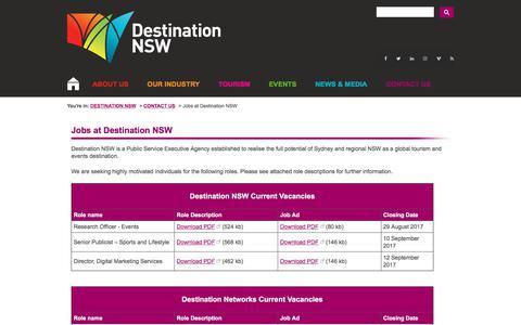 Screenshot of Jobs Page destinationnsw.com.au - Jobs - Destination NSW - captured Aug. 28, 2017