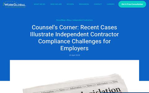 Screenshot of Case Studies Page iworkglobal.com - Counsel's Corner: Recent Cases Illustrate Independent Contractor Compliance Challenges for Employers - captured Jan. 23, 2020