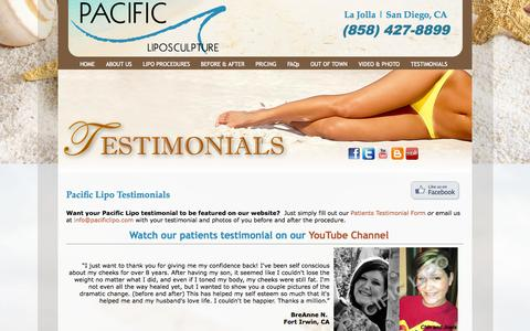 Screenshot of Testimonials Page pacificlipo.com - Testimonials - Pacific Liposculpture | Liposuction | San Diego | La Jolla - captured Sept. 26, 2014