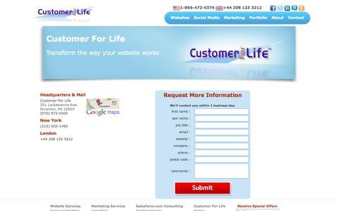 Screenshot of Contact Page customerforlife.net - Contact Us   Customer For Life - captured Oct. 3, 2014