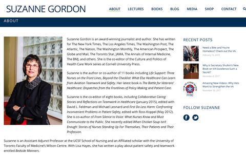 Screenshot of About Page suzannecgordon.com - About - Suzanne Gordon - captured Feb. 18, 2018