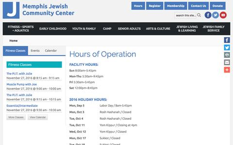 Screenshot of Hours Page jccmemphis.org - Hours of Operation | Memphis Jewish Community Center - Memphis Jewish Community Center - captured Nov. 28, 2016