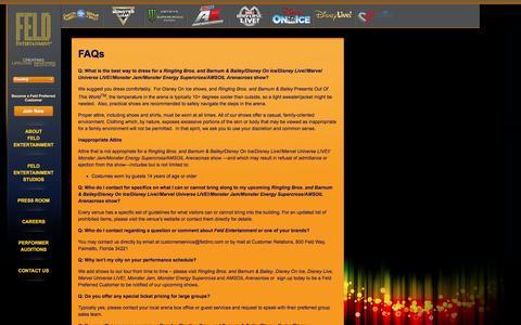 Screenshot of FAQ Page feldentertainment.com - FAQs - captured Jan. 11, 2017
