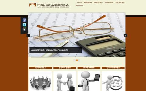Screenshot of Home Page fiduecuador.com - Fiduecuador - captured Oct. 5, 2014