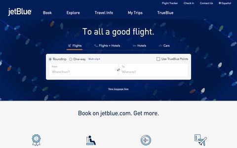Screenshot of Home Page jetblue.com - Airline Tickets, Flights & Airfare: Book Direct - Official Site | JetBlue - captured Dec. 19, 2018
