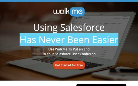 Screenshot of Landing Page walkme.com - Using Salesforce Has Never Been Easier Use WalkMe To Put an End<br />To Your Salesforce User Confusion - captured Dec. 9, 2015