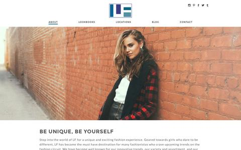 Screenshot of About Page lfstores.com - Be Unique, Be Yourself | LF Stores - captured Oct. 28, 2014