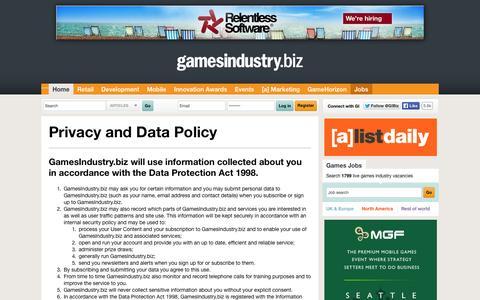 Screenshot of Privacy Page gamesindustry.biz - Privacy Policy | GamesIndustry.biz - captured Sept. 18, 2014