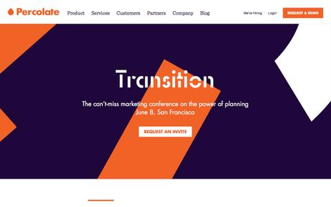 Screenshot of Home Page percolate.com - Percolate | Complete Marketing Software for Global Brands - captured April 28, 2017
