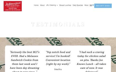 Screenshot of Testimonials Page joeknowslunch.com - Testimonials - Joe Knows Lunch - captured Aug. 7, 2016