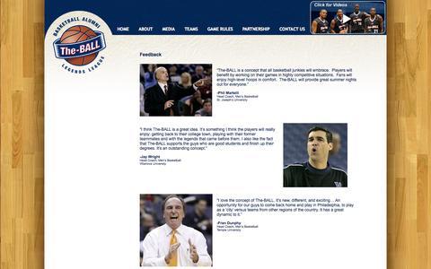 Screenshot of Testimonials Page the-ball.com - The-BALL.com   » Testimonials - captured Oct. 26, 2014