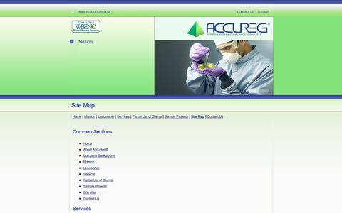 Screenshot of Site Map Page regulatory.com - AccuReg® Sitemap - captured Feb. 5, 2016