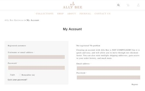 Screenshot of Signup Page Login Page ally-bee.com - My Account | Ally Bee Knitwear in Ealing, London - captured Oct. 8, 2017