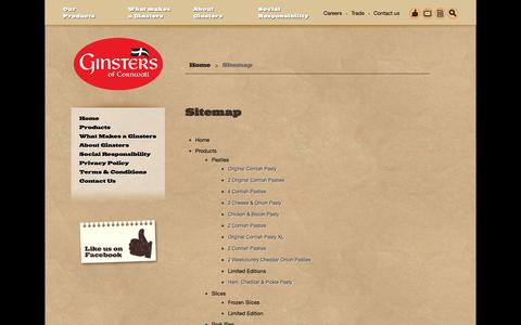 Screenshot of Site Map Page ginsters.co.uk - Sitemap - Ginsters - Cornish Pasty Bakers - captured Sept. 29, 2014