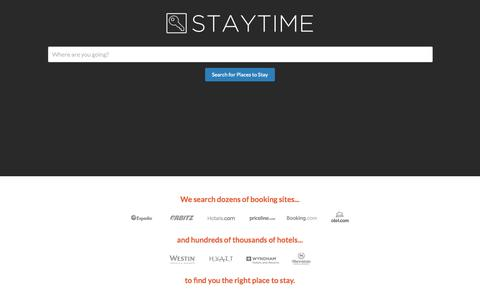 Screenshot of Home Page staytime.com - Staytime Hotel Search - captured Aug. 14, 2015