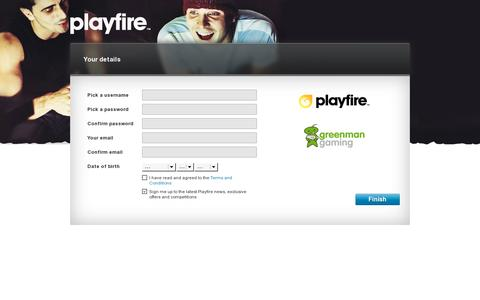 Screenshot of Signup Page playfire.com - Register an account - Playfire - captured July 20, 2014