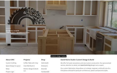 Screenshot of Home Page dyocore.com - David Raine Studio Custom Design & Build - David Raine Studio - captured Oct. 9, 2018