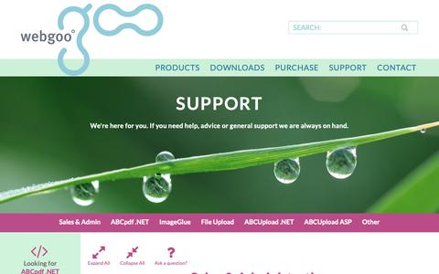 Screenshot of Support Page websupergoo.com - WebSupergoo Technical Support and FAQ for ABCpdf, ImageGlue and other Image and PDF Products - captured Nov. 7, 2018