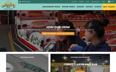 Screenshot of Home Page moreyspiers.com - Homepage | Morey's Piers - captured Nov. 10, 2018