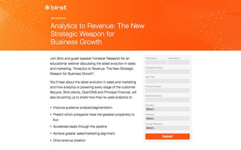 Screenshot of Landing Page birst.com - Birst | Analytics to Revenue: The New Strategic Weapon for Business Growth - captured May 21, 2016